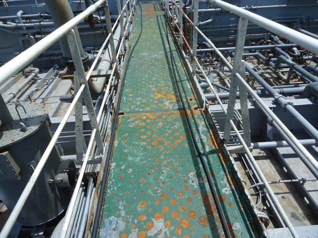 blistered deck walkway on ship