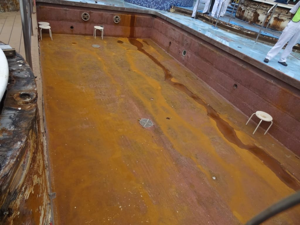 cruise ship swimming pool showing severe corrosion