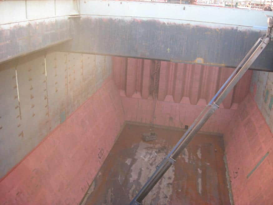red internal cargo holds without paintwork