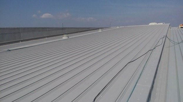 large exposed roof painted in grey