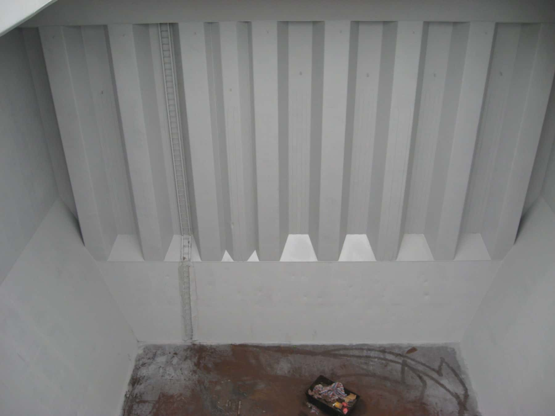 large cargo hold coated with grey paint
