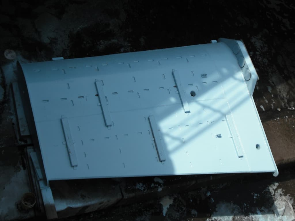 vessel rudder painted in light grey