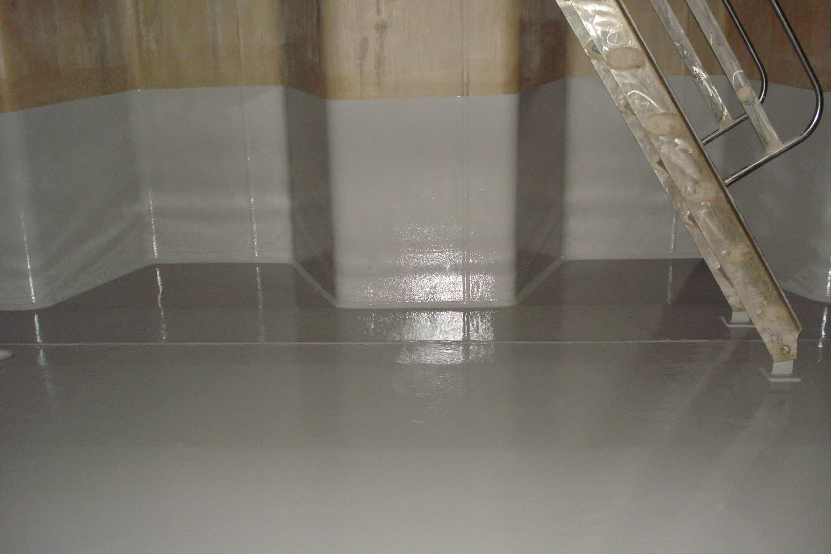 chemical tank internal floor and wall painted light grey