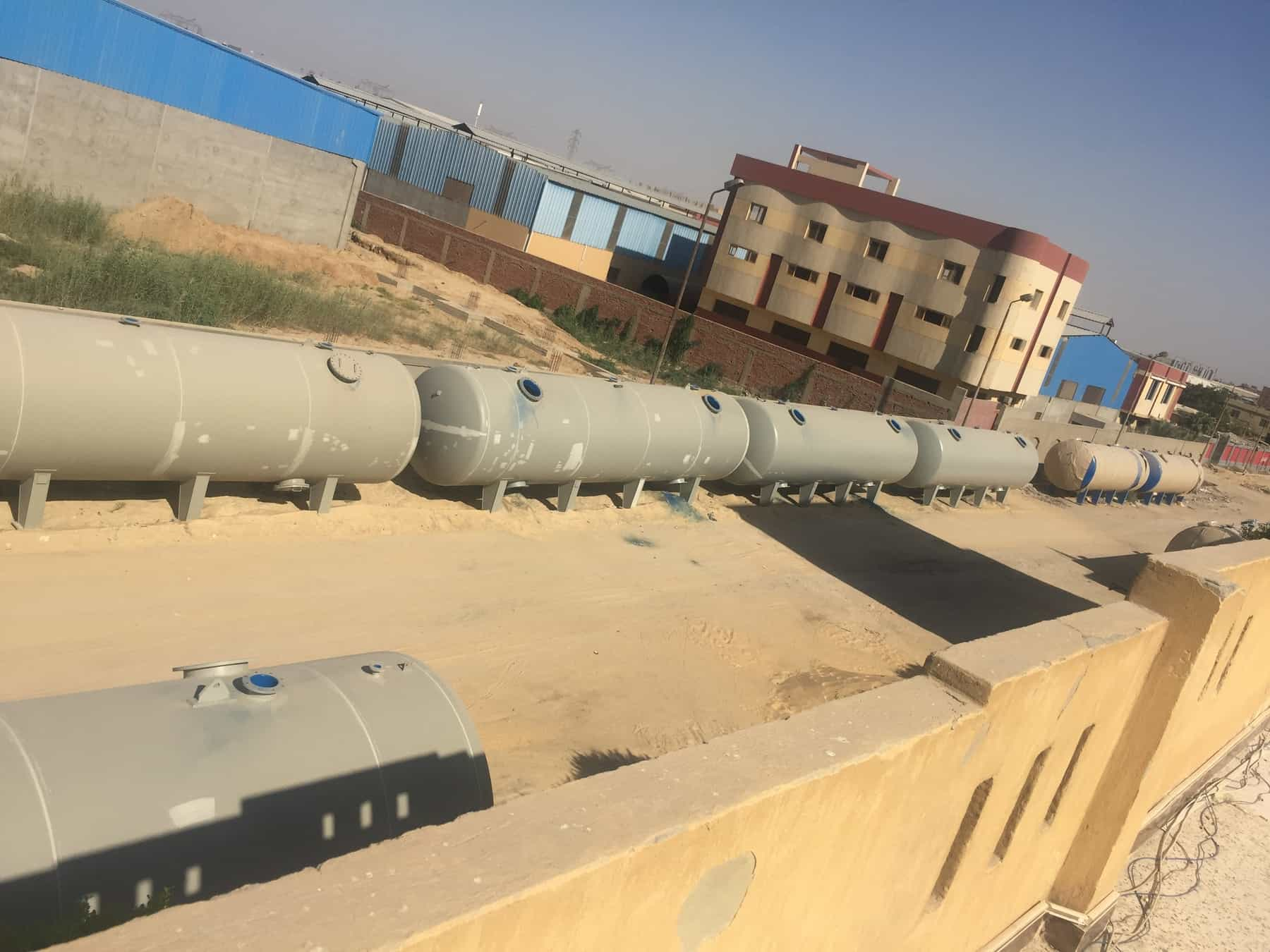 arge external unpainted sand filters in desalination plant