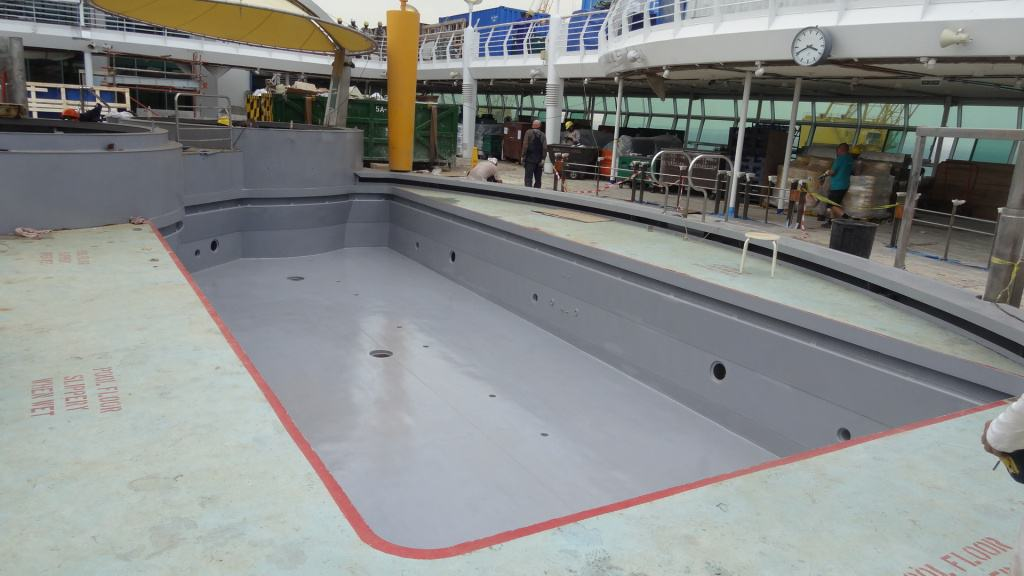 grey painted swimming pool on cruise ship