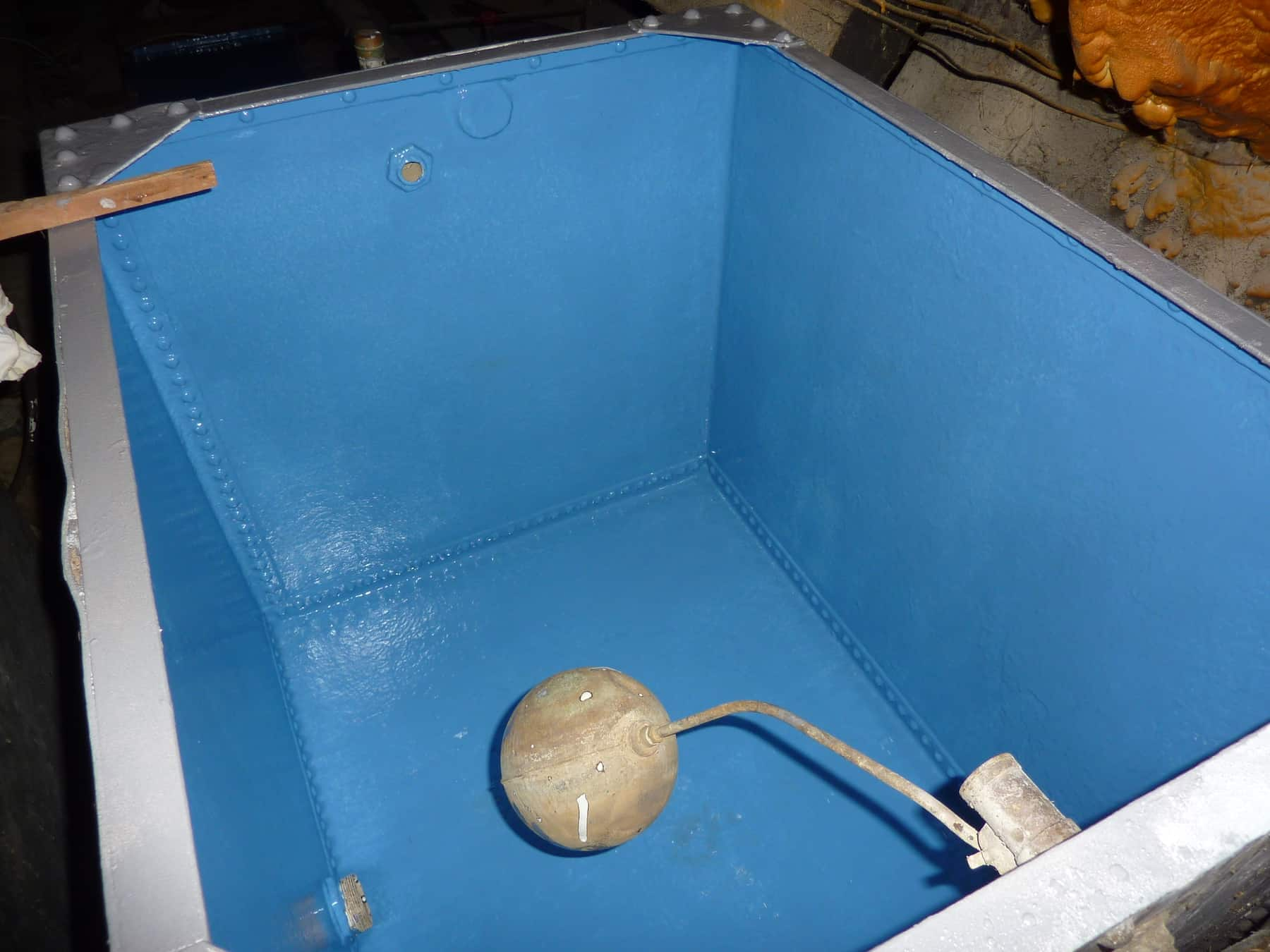 potable water tank internals painted in blue