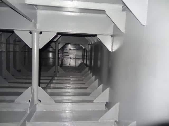 aluminium void tank internals painted in grey