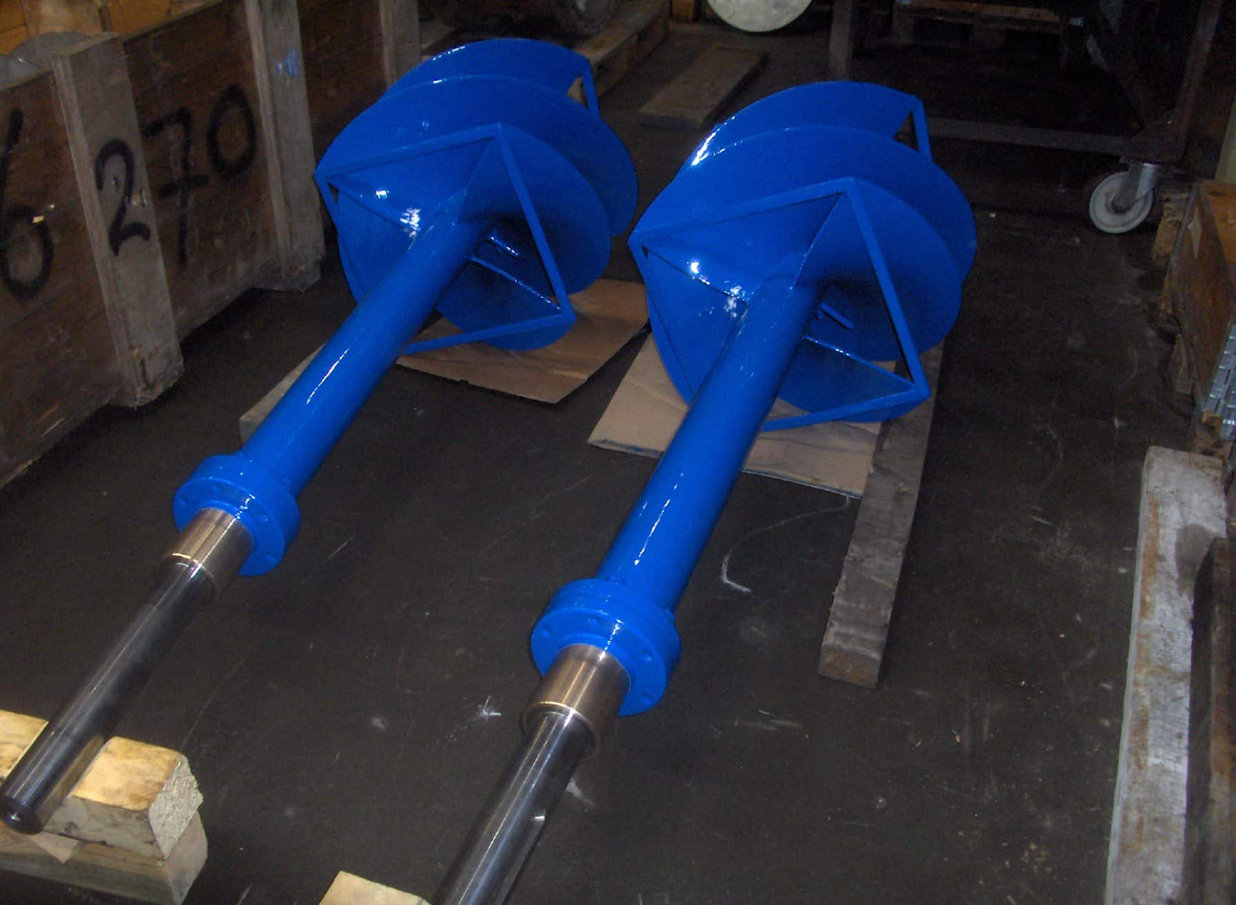 two gas/water mixers painted in blue