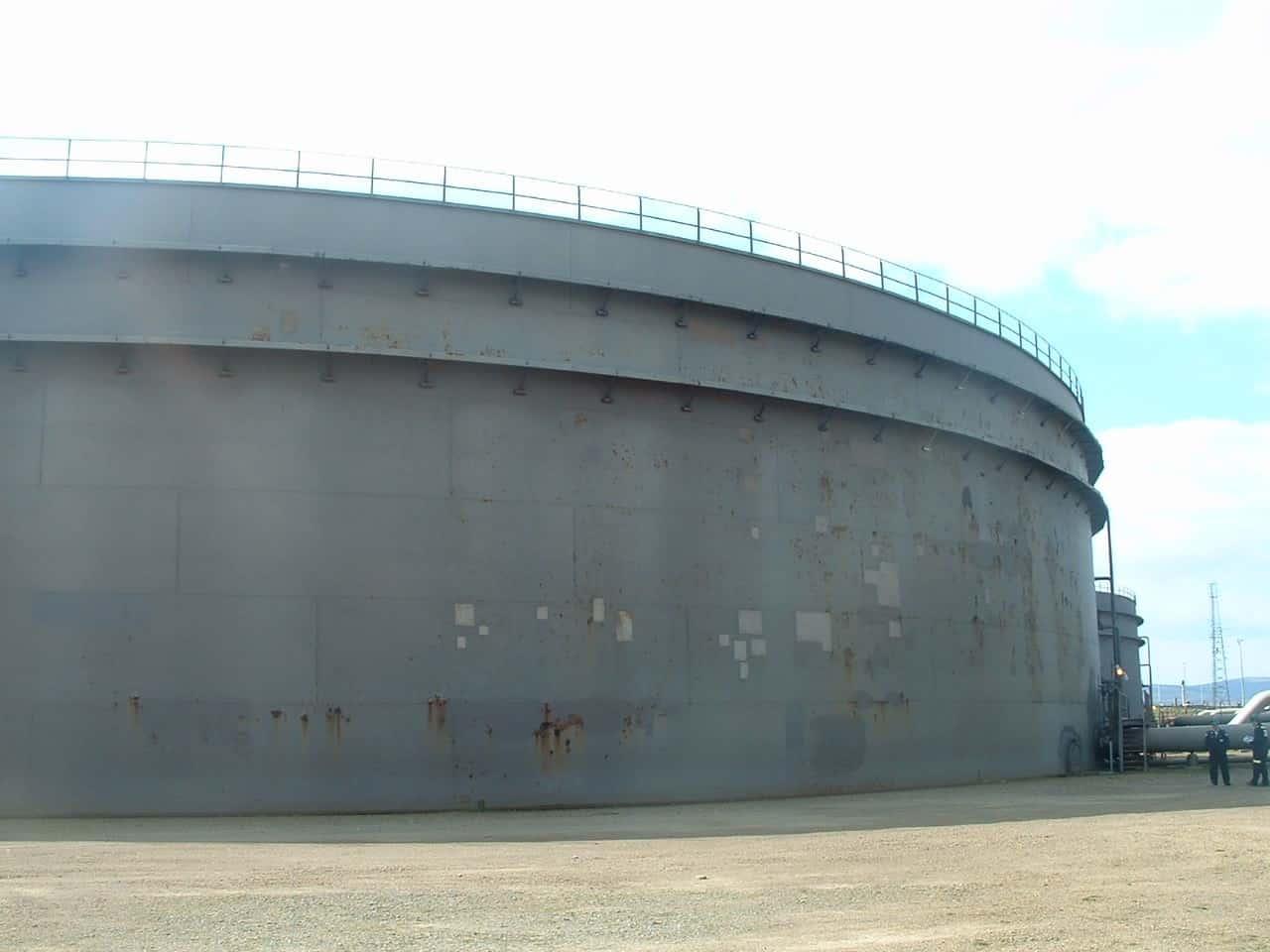 large unpainted external oil tank