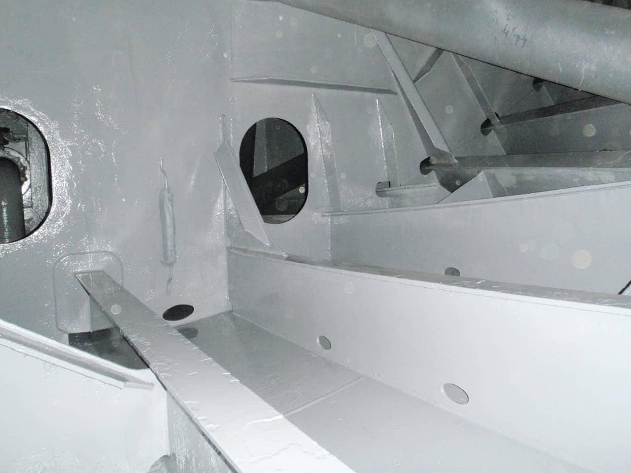freshly painted grey ballast tank internals