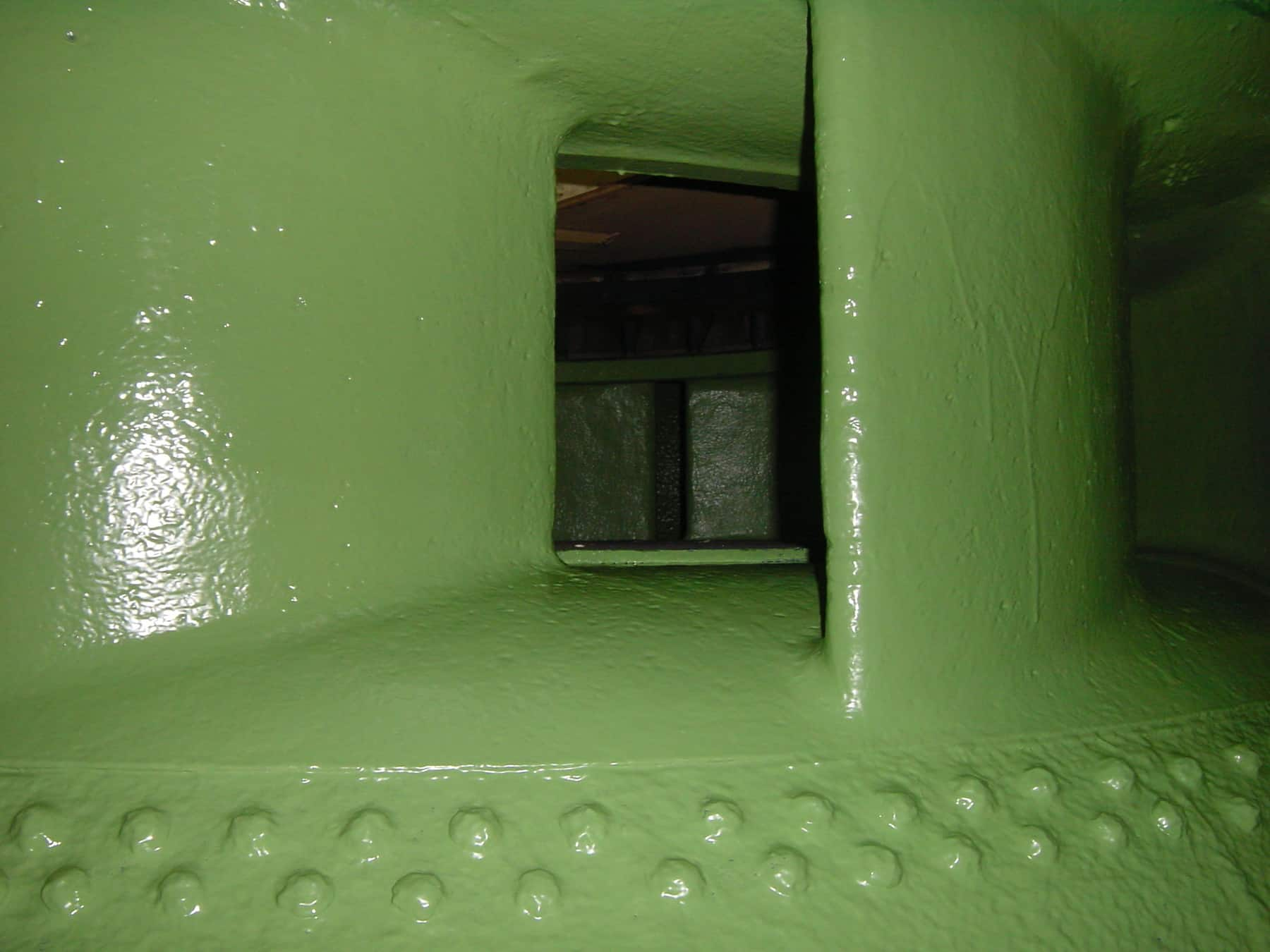 internal spiral casing painted in green