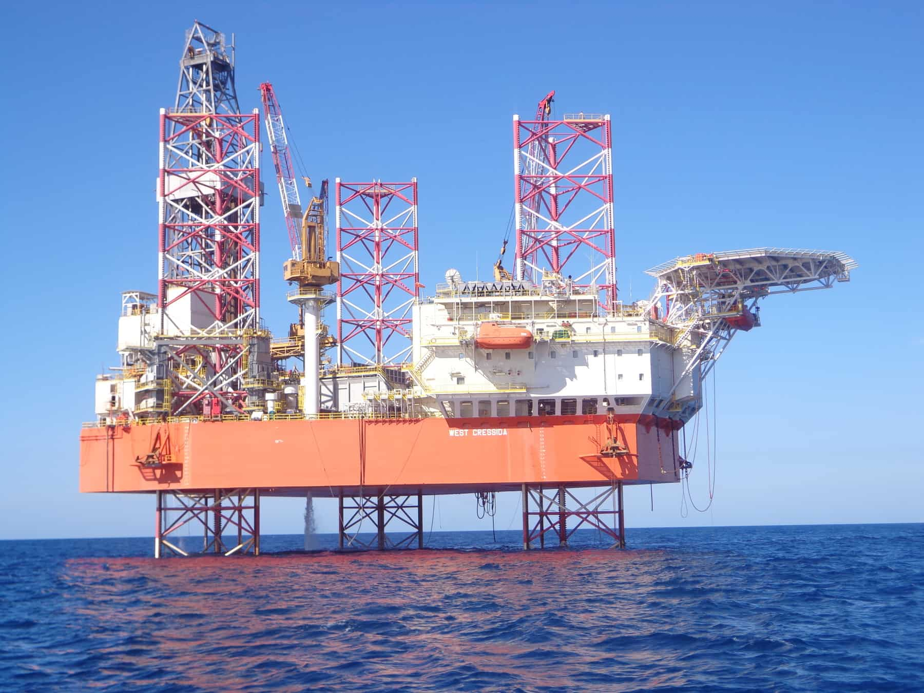 Colourful offshore platform in the sea