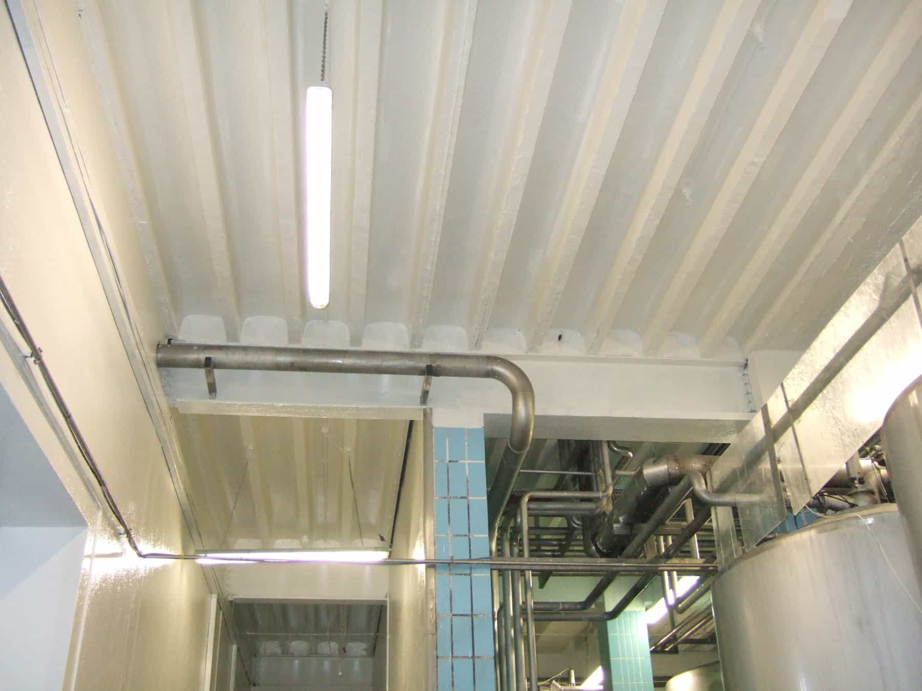 refurbished fermentation room roof and surface walls