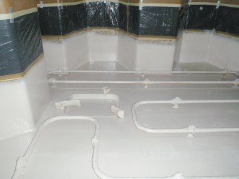 tank internals with white floor and walls