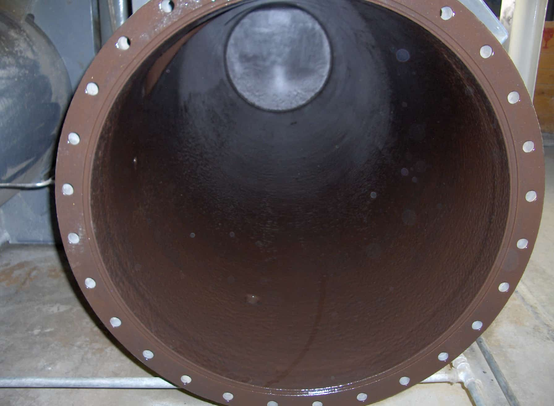 close up of circular brown pipe internal