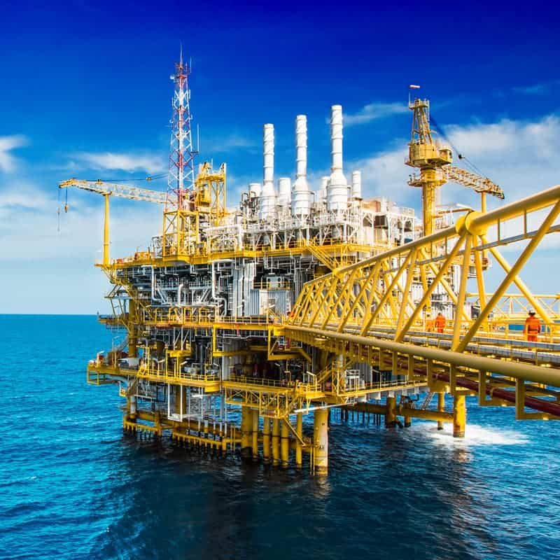 large yellow and white offshore platform