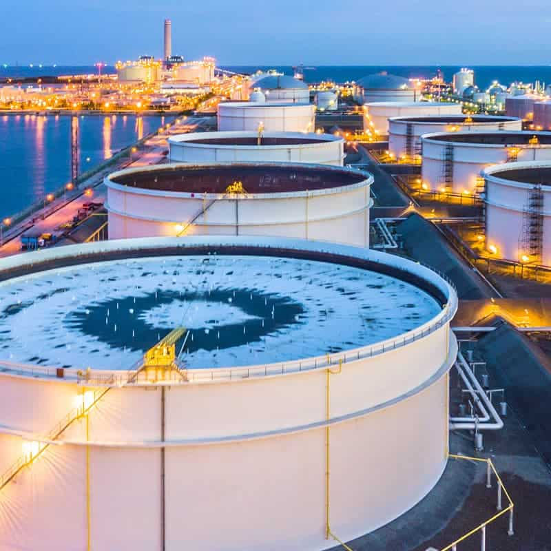 crude oil tanks in petrochemical plant