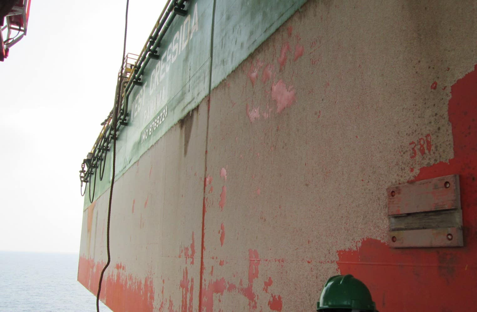 Close up of unpainted offshore platform wall