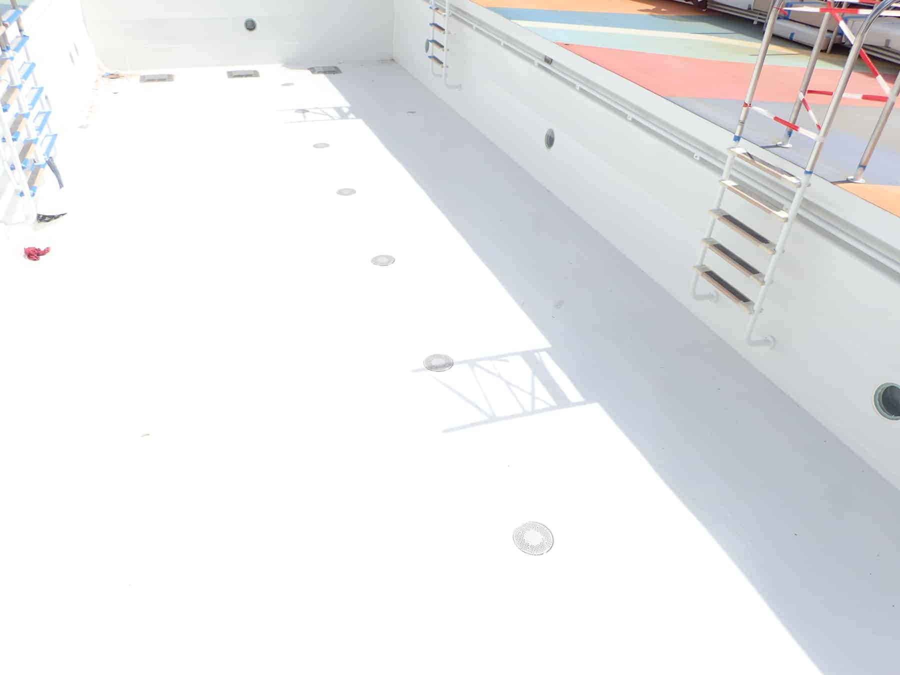 cruise ship swimming pool painted white