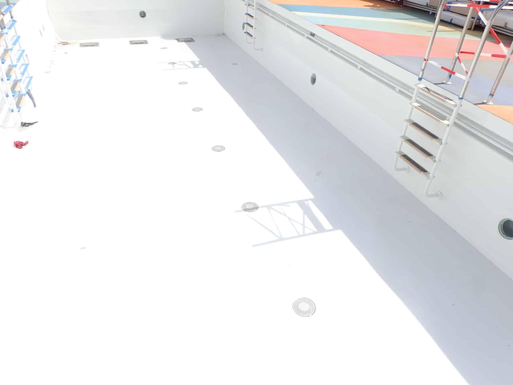 cruise ship swimming pool painted white