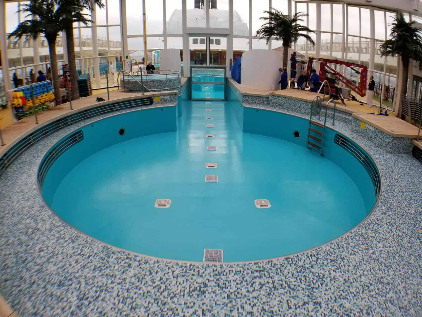 large cruise ship swimming pool painted in blue