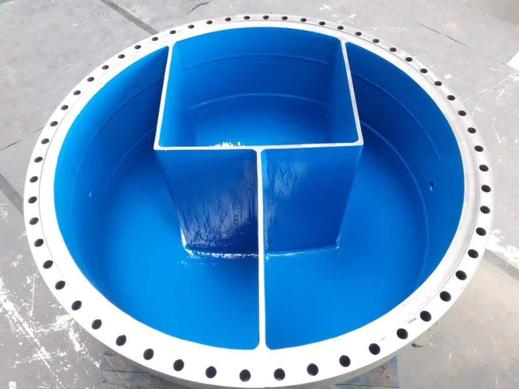 water cooler freshly coated in royal blue paint