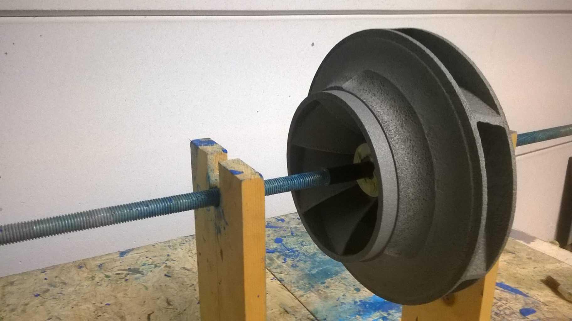 unpainted ceramic pump wheel after surface preparation