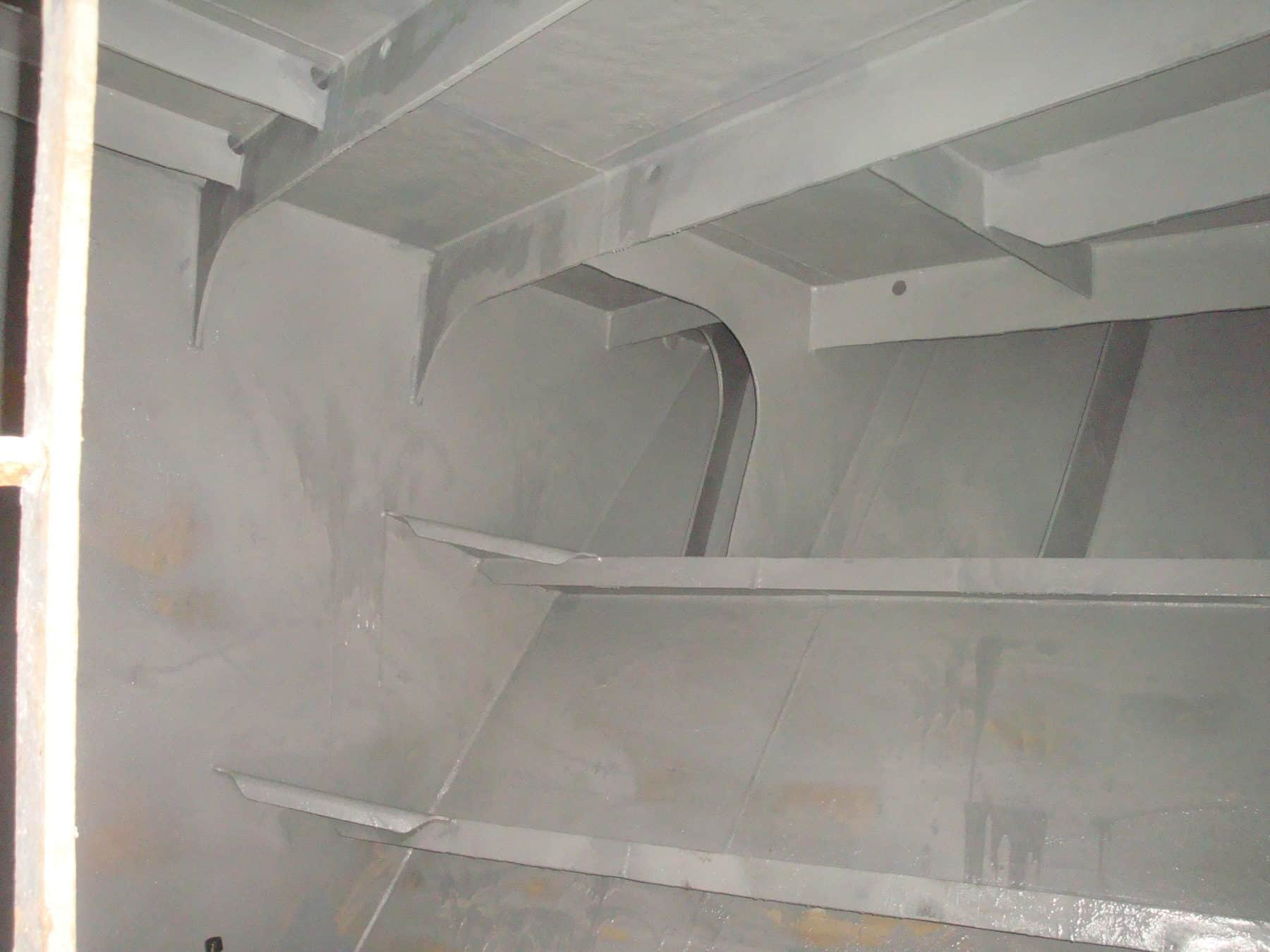 tank internals painted in grey